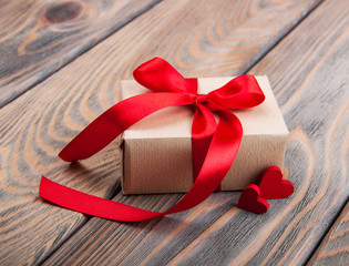 Gift box and hearts