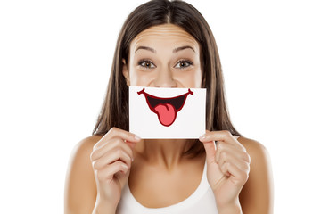 happy young woman with smile, drawn on sheet of paper