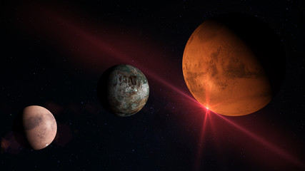 Planets and Moon in space