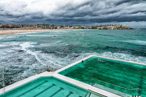 Aerial view of Sydney Bondi Beach Pools