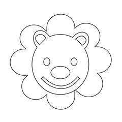 Cute Lion emotion Icon Illustration sign design