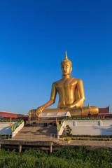The statue of sitting Buddha in Bangkok Thailand