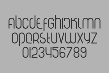 set of stylized, alphabet letters and digits isolated on gray background. vector modern, bold font type