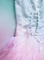 Vintage wedding dress corset background with glitter overlay. wedding concept. vintage filtered and toned image