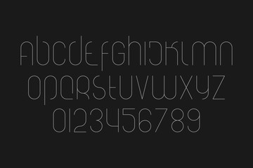 set of stylized alphabet letters and numbers isolated on black background. vector font type symbols