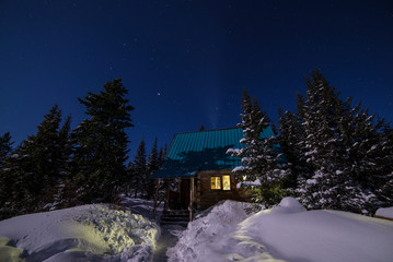 The light from the house in snowy Siberia