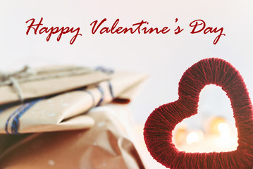 Stylish craft presents with red heart, happy valentine's day, ho