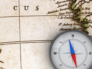Compass on the map - 3d Object Series