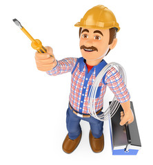 3D Electrician with a screwdriver and toolbox
