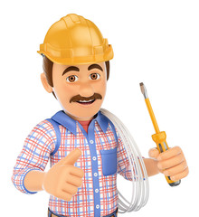 3D Electrician with a screwdriver and wire