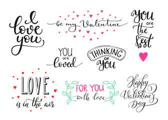 Romantic Valentines day lettering set