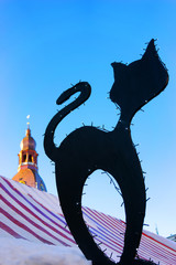Silhouette of a black cat on a background of the Dome Cathedral