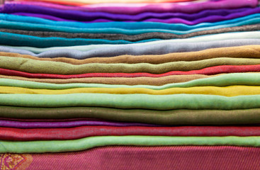 Traditional colored fabrics in Indian market