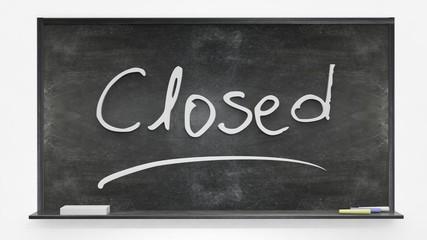 Closed written on blackboard