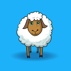 Cartoon sheep on a blue background
