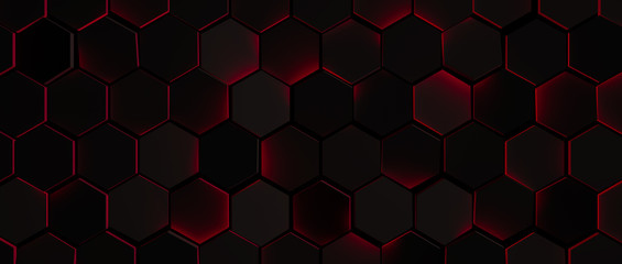Dark Glowing Red Hexagon Background