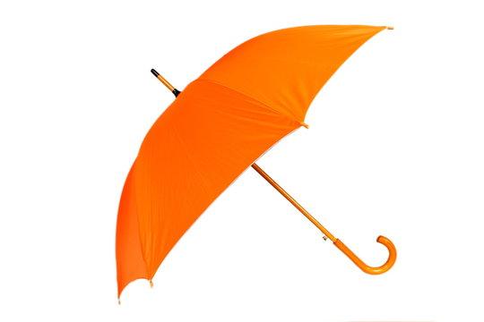 Orange umbrella on white background