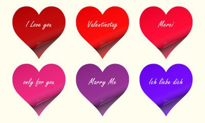 Valentinstag - Klebezettel mit Text
