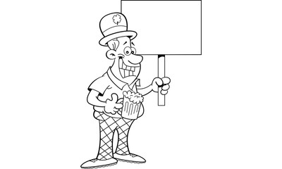 Black and white illustration of a man wearing a derby and holding a sign.
