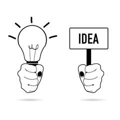 lightbulb vector in hand
