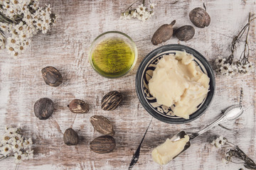 Shea oil and butter with shea nuts