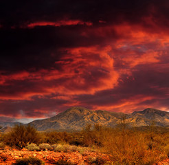 Red skies Sonora Desert Mountains