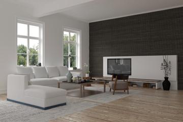 Spacious modern living room interior