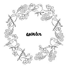Winter. Winter pattern. Bullfinches and rowan. Frame - wreath.