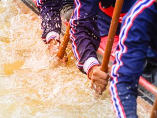 Fotobehang - Close up of rowing team race