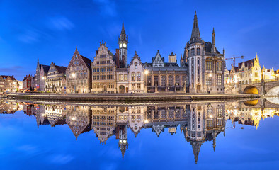 Ghent skyline reflecting in water, Belgium