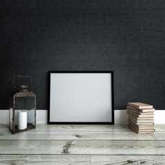 Picture frame mockup against dark wall. Interior.