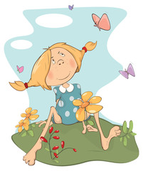 A girl on a field. Cartoon