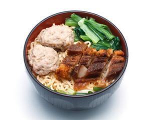 egg rice noodles served with crispy pork and pork ball bounce.