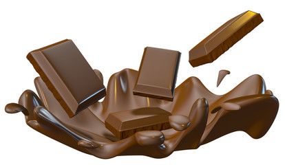 chocolate splash closeup, isolated on white background.