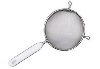 Metal sieve with  plastic handle isolated on white background