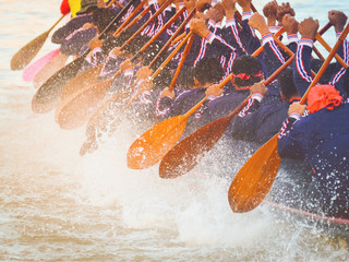 Fototapete - Close up of rowing team race