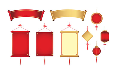 Chinese hanging and banner for graphic element. Graphic resource in China theme