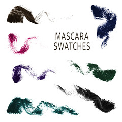 Set of 7 realistic mascara swatches.