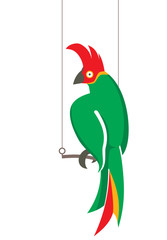 Parrot on perch - vector illustration.