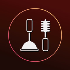 Toilet plunger and brush icon