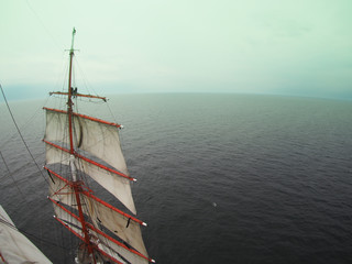 view from aloft on a tallship