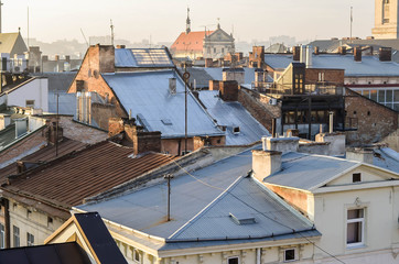 View of the old Lviv from the roof.