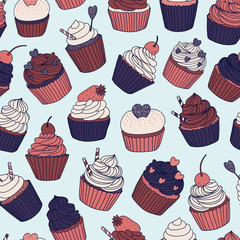 hand drawn vector seamless pattern with cupcakes