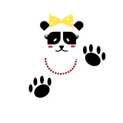 Vector  Panda Bear lady with claws, beads and bows