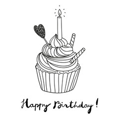 hand drawn vector birthday postcard with a cupcake
