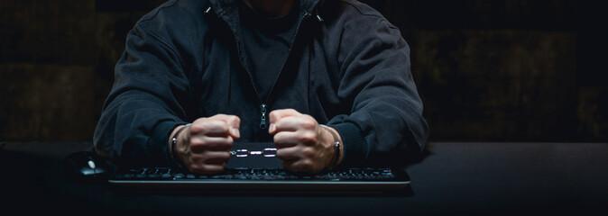 Angry man and computer