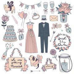 hand drawn vector wedding set..