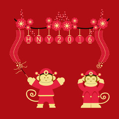 Chinese 2016 New Year of the Monkey for greeting card
