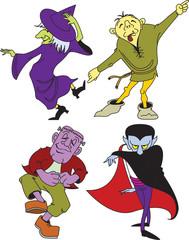 Halloween monsters dancing and having fun