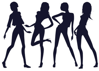 Silhouettes of beautiful girls